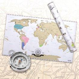 CARTE DU MONDE A GRATTER EN FRANÇAIS – TAILLE XXL – QUALITE SUPERIEURE – SCRAPE OFF WORLD MAP – GOODS & GADGETS
