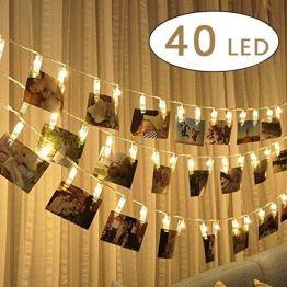 LED PHOTO CLIPS LUMIERE CHAINES – 40 PHOTOS CLIPS 5 M ECLAIRAGE D'AMBIANCE DEORATION POUR PHOTO SUSPENDU MEMOS ŒUVRES D'ART