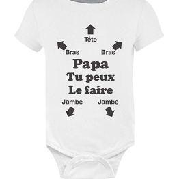 PAPA TU PEUX LE FAIRE ! FUTUR PAPA NAISSANCE BODY BEBE MANCHE COURTE – GREEN TURTLE T-SHIRTS