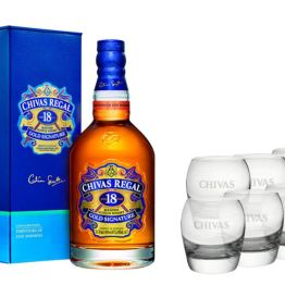 Whisky Chivas 18 ans avec 6 verres – Coffret Cadeau