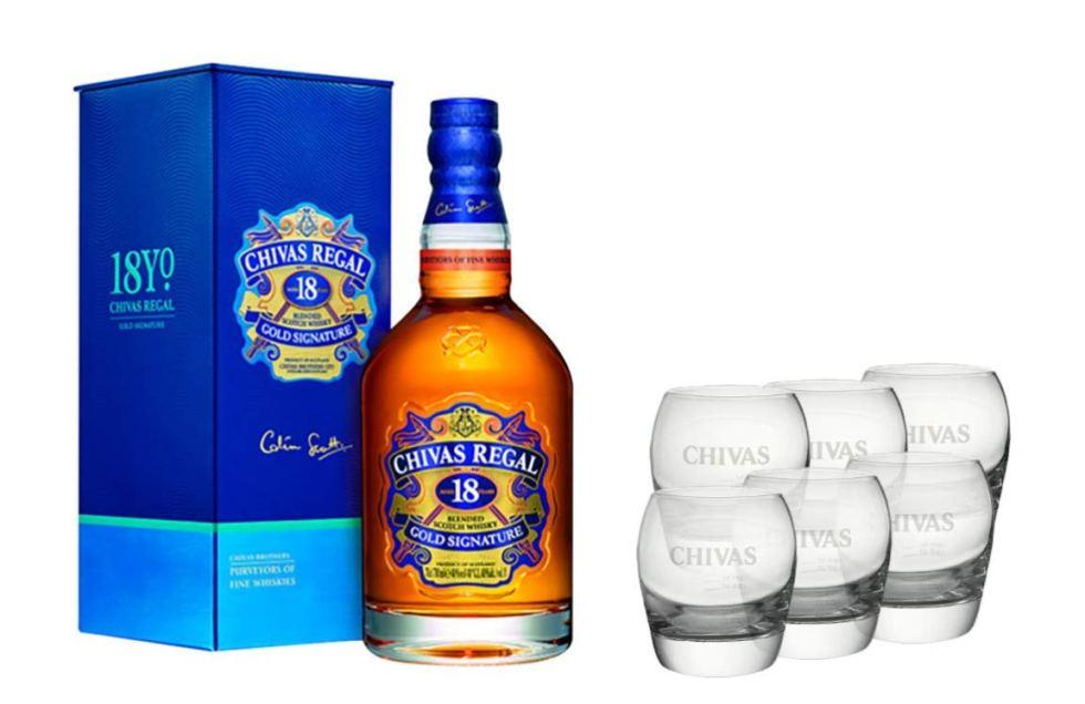 Coffret Chivas 18 ans avec 6 verres