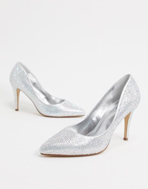 Zilveren trouwschoen glitter Dune_3