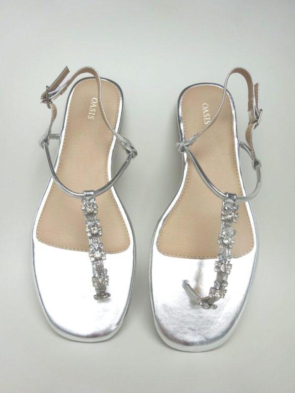 Platte trouwschoenen Oasis - Zilveren sandaaltjes