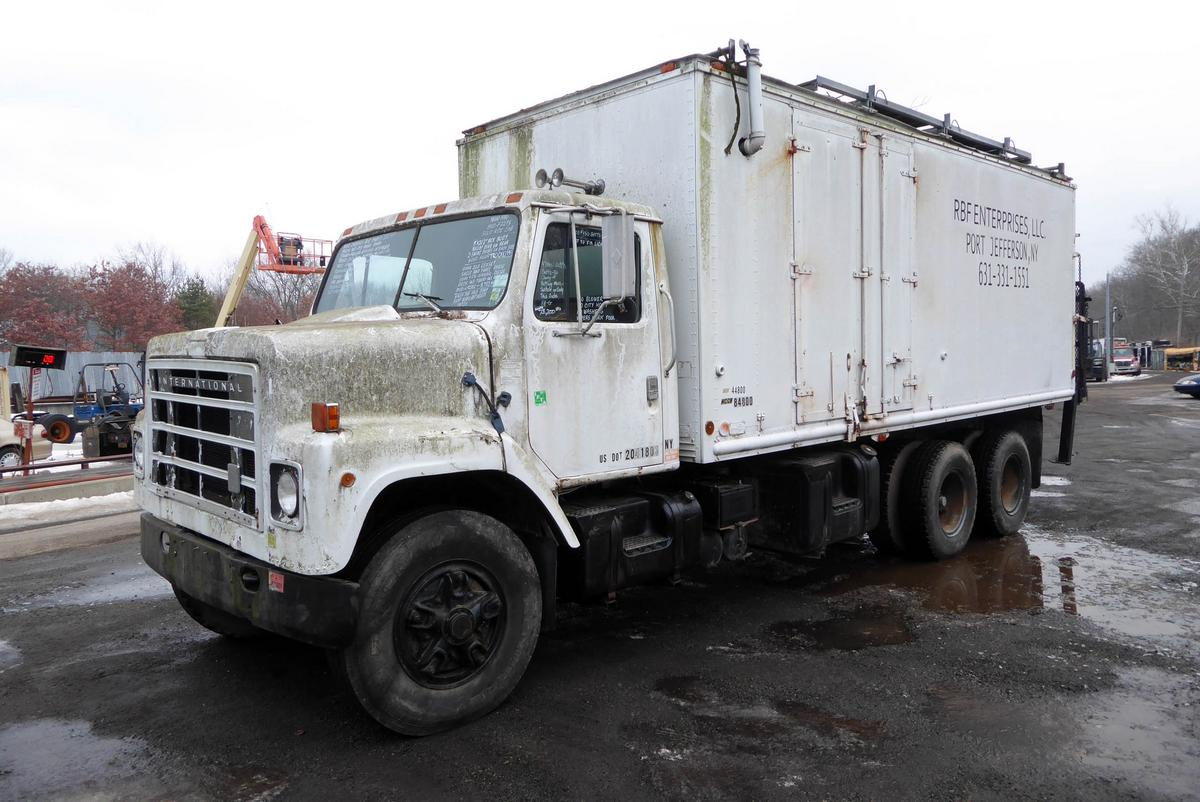hight resolution of make international model f2275 type tandem axle box truck motor cummins bc3 mech 350 hp sold 3 16 19 engine brake no air to air no