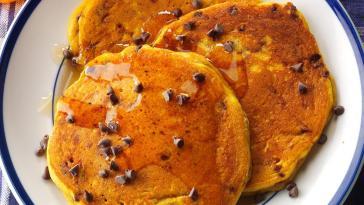 pancake au potiron et aux pépites de chocolat