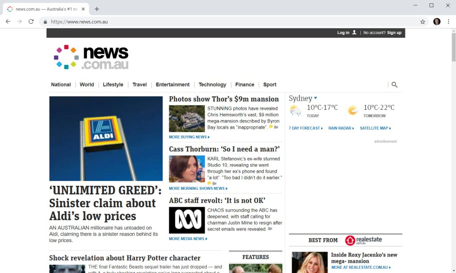 news.com.au with pi-hole