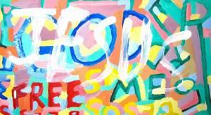 "David is super Christian, even overzealous. (""Jesus Free Me"" by David Baum, courtesy of Malcolm Allred.)"