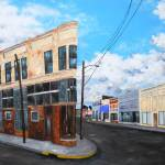 """Sunday Morning Main"" by Troy Broussard, depicting Jennings, LA, & the Heywood Building; collection of Wendell Miller."