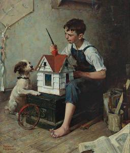 "I didn't see anything like this at the Norman Rockwell Museum in Vermont. ""Painting the Little House"", oil on canvas, by Norman Rockwell [Public domain], via Wikimedia Commons."