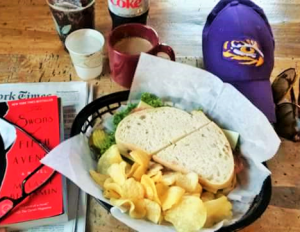Fresh baked bread with lunch at the Northshire Bookstore and Spiral Press Café, Manchester, Vermont.
