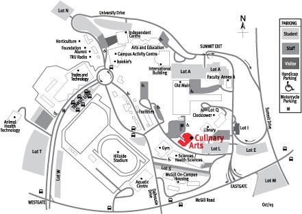 Culinary Arts Campus Map: Thompson Rivers University
