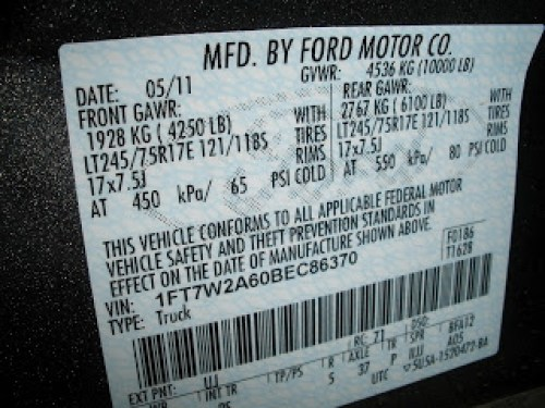 Ford's GAWR and Tire Loading Sticker