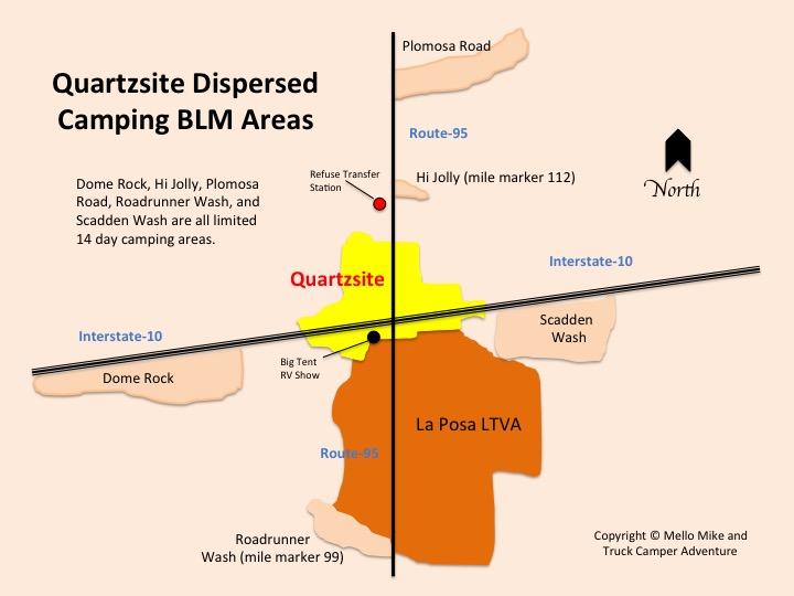 Quartzsite Map of BLM Boondocking Dispersed Camping Areas