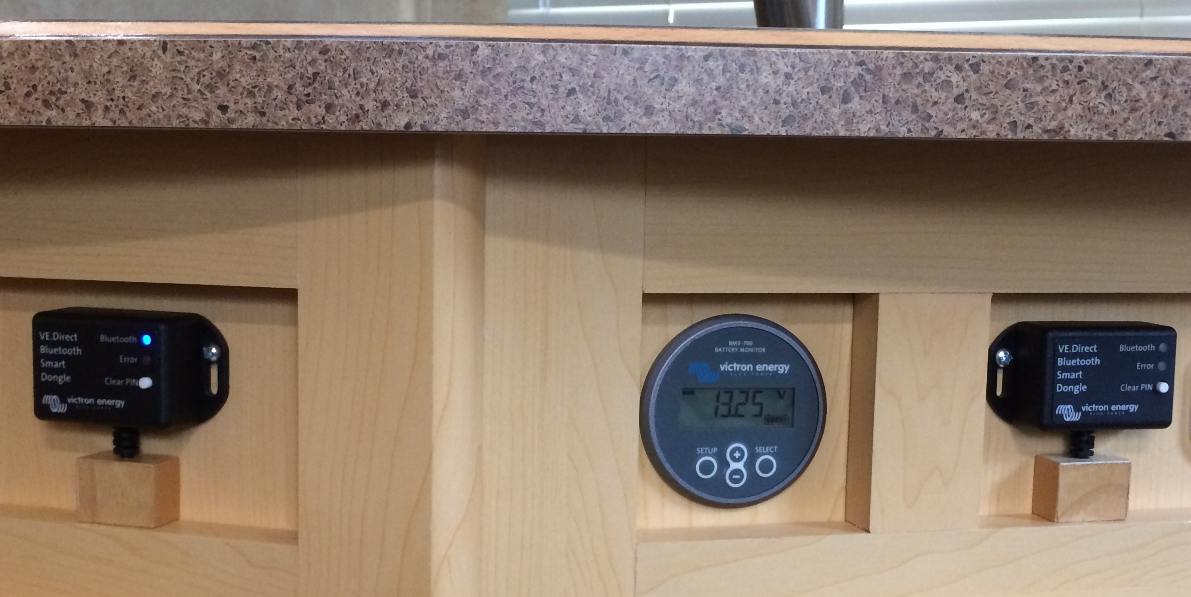 Review Of Victron Battery Monitor And Mppt Controller With Smart Wiring Schematic Moreover Solar Charge I Mounted Both Bluetooth Dongles The In A Trim Space Below My Kitchen Countertop Front Sink Transmission Is