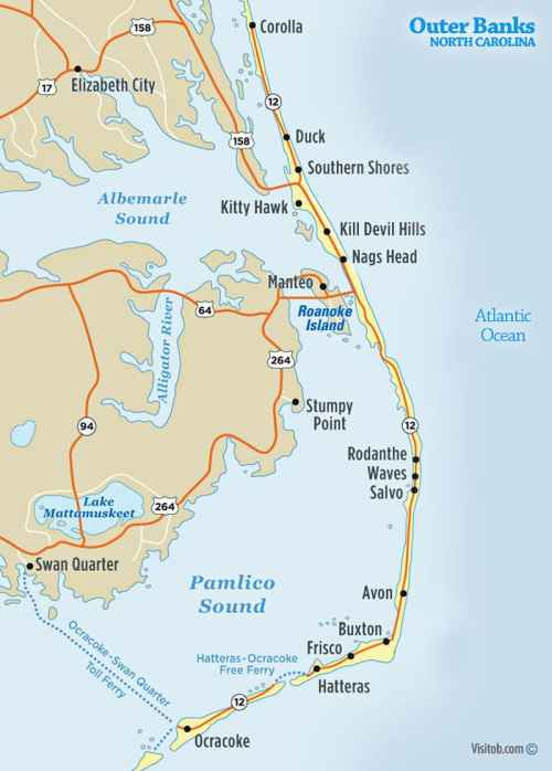small resolution of outer banks north carolina map