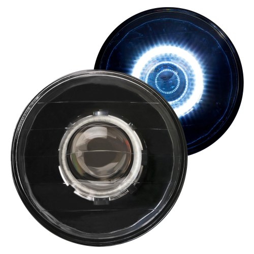 small resolution of ipcw 7 round black diamond cut halo projector headlights