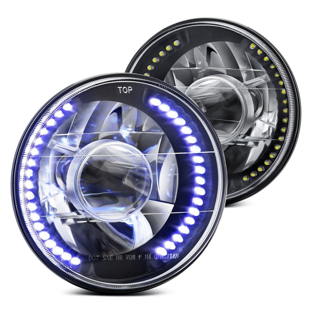 medium resolution of lumen 7 round black projector led headlights