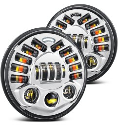 lumen 7 round chrome projector led headlights with drl and turn signal [ 1500 x 1500 Pixel ]