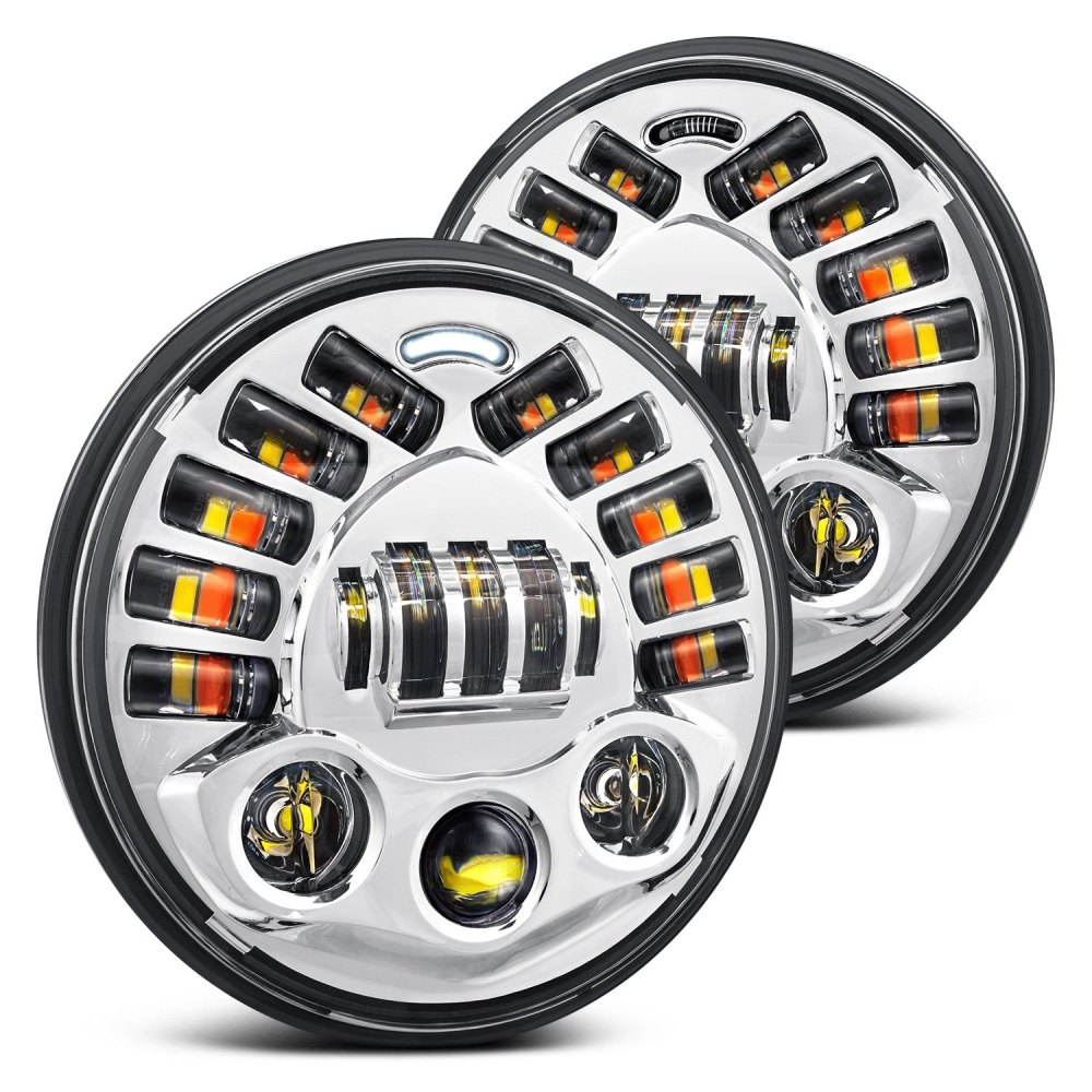 medium resolution of lumen 7 round chrome projector led headlights with drl and turn signal