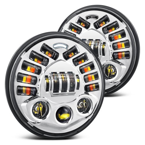 small resolution of lumen 7 round chrome projector led headlights with drl and turn signal