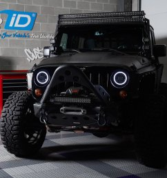 7 round black projector led headlights with switchback halo installed on a jeep wrangler halo ring  [ 1500 x 1500 Pixel ]