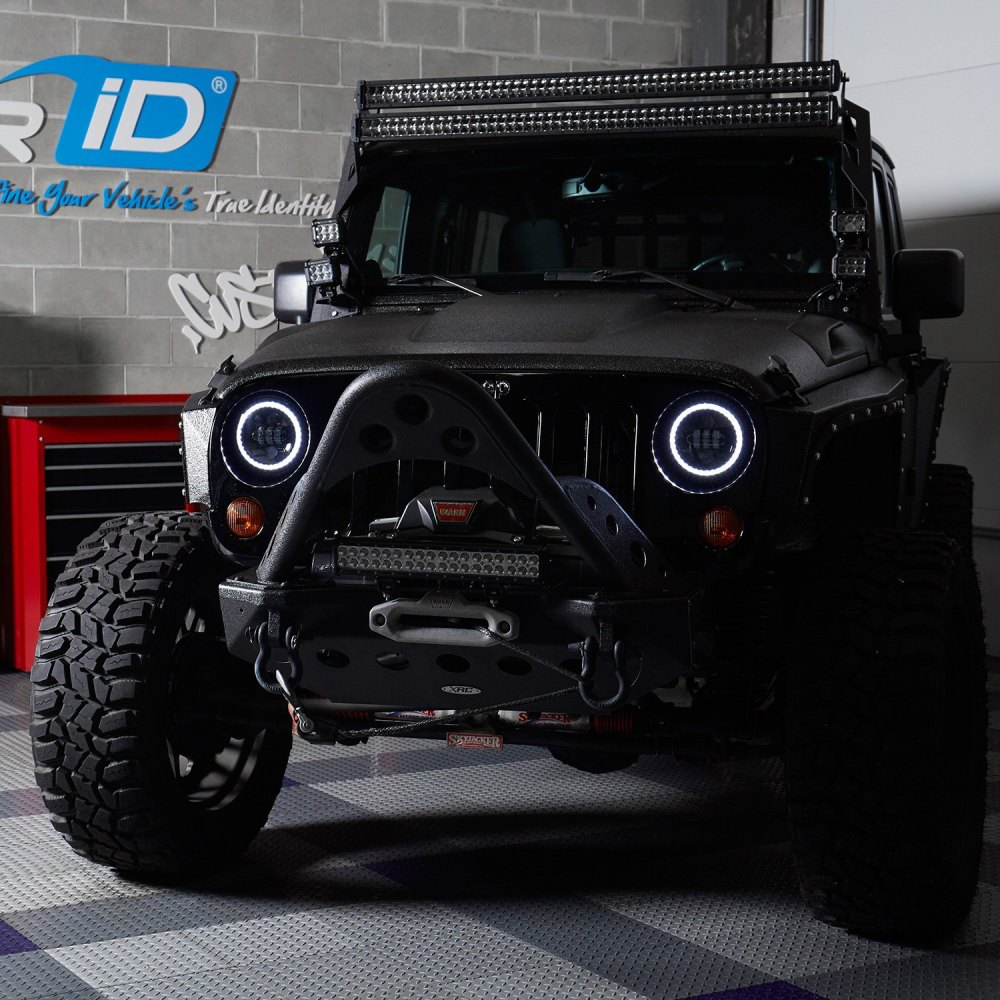 medium resolution of  7 round black projector led headlights with switchback halo installed on a jeep wrangler halo ring