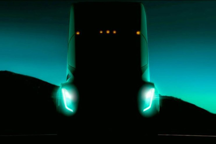 Tesla Electric Semi truck shadow