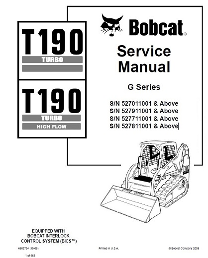 Bobcat T190 Turbo Service Repair Workshop Manual Download