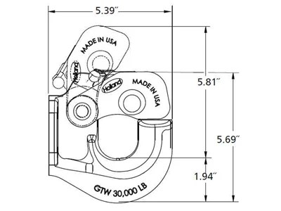 SAF Holland 15 Ton Pintle Hook, PH-30RP45