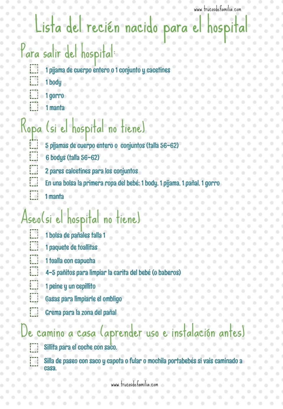 Checklist de la bolsa del recién nacido para el hospital