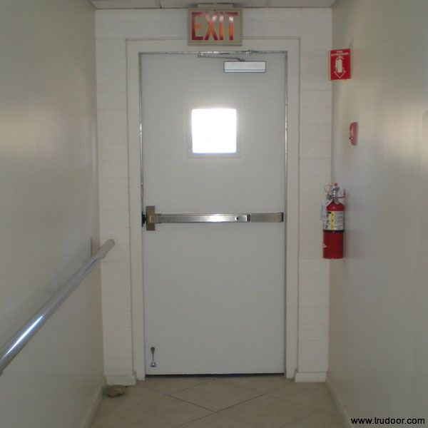 Commercial Metal Doors With Steel Lite Kit And Glass