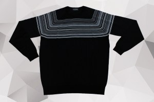 John Smedley Gig Stripe Panel Crew Knit – Black