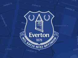 Everton badge on blue background