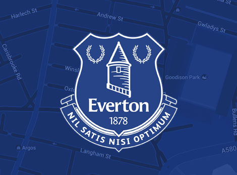 Everton badge on blue background