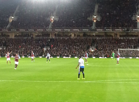 View of West Ham match from Newcastle away end