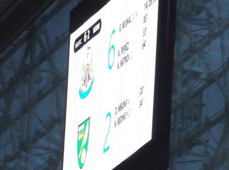 St James' Scoreboard Newcastle 6 Norwich 2