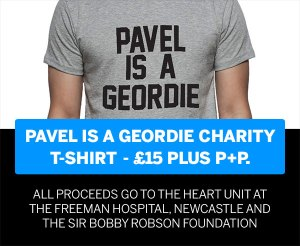 Pavel is a Geordie charity t-shirt