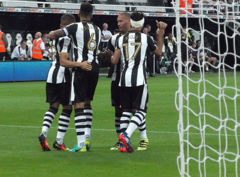 Players celebrate 2nd goal against Cheltenham Town
