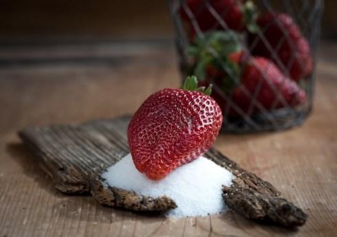 Erdbeere auf Zucker