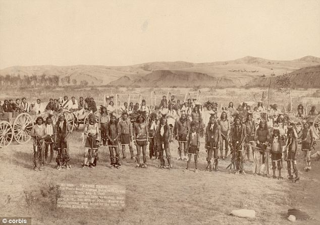 This picture of the Miniconjou Sioux band was taken near the site of the Wounded Knee massacre one month before the December 1890 massacre where hundreds of Indians were killed. Credit: Corbis
