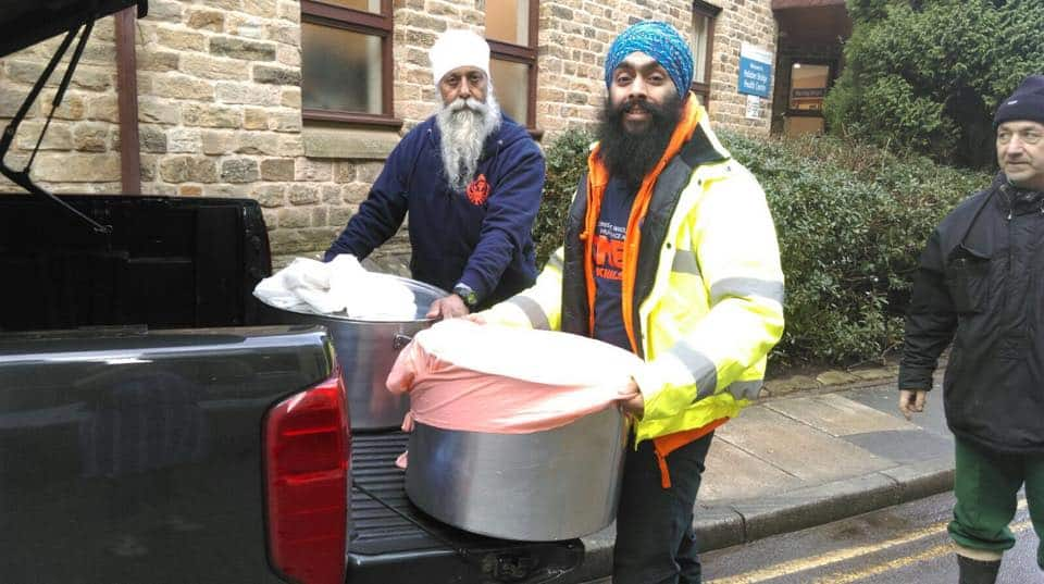 Sikh community groups also came to Hebden Bridge offering delicious Indian food to those in need. Credit: Ravi Singh, Facebook