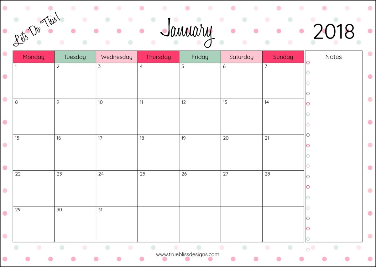 2018 Monthly Printable Calendar -Let's Do This!