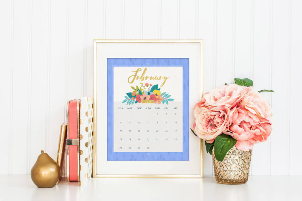 Monthly floral calendar available in two sizes, a full page wall print and a desktop size.