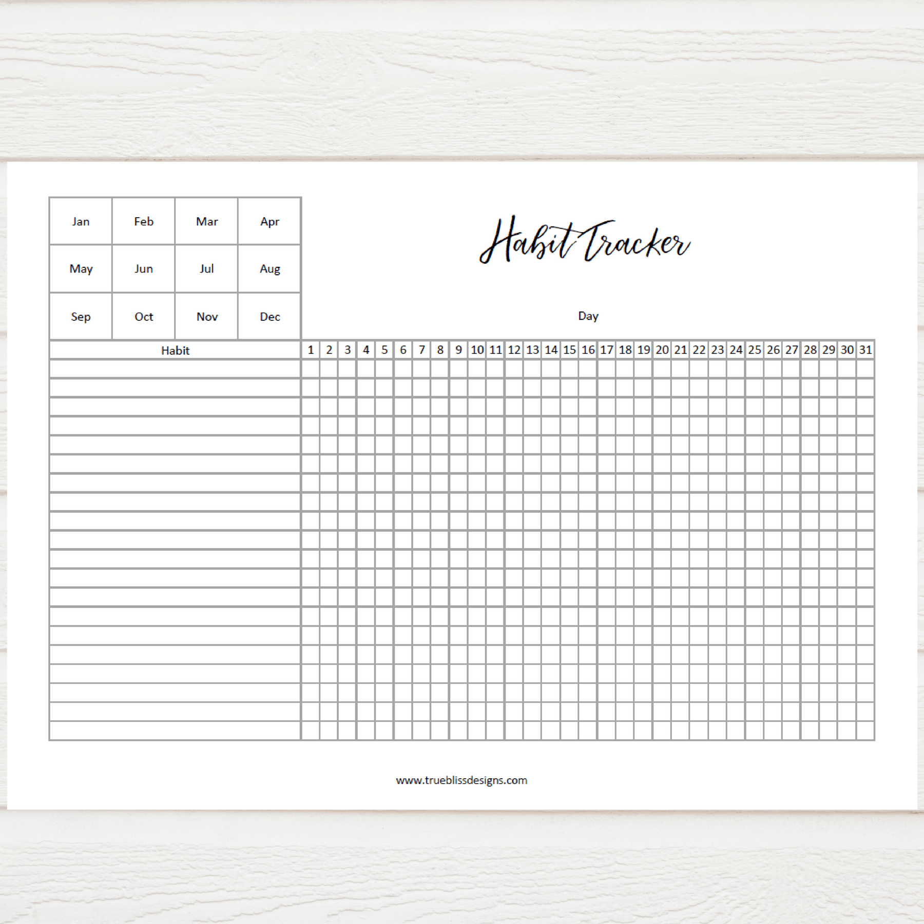 photograph relating to Habit Tracker Printable Free identified as Behavior Tracker - Accurate Bliss Strategies