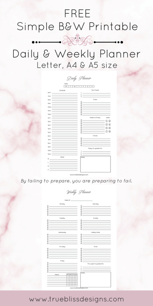 Free daily and weekly printable planners in a classic ink-friendly simple design available. These planners would be great for home, school or office organization. Download these free printables and check out other simple black and white printable planners at www.trueblissdesigns.com. #printable #planner #planneraddict #freeprintable