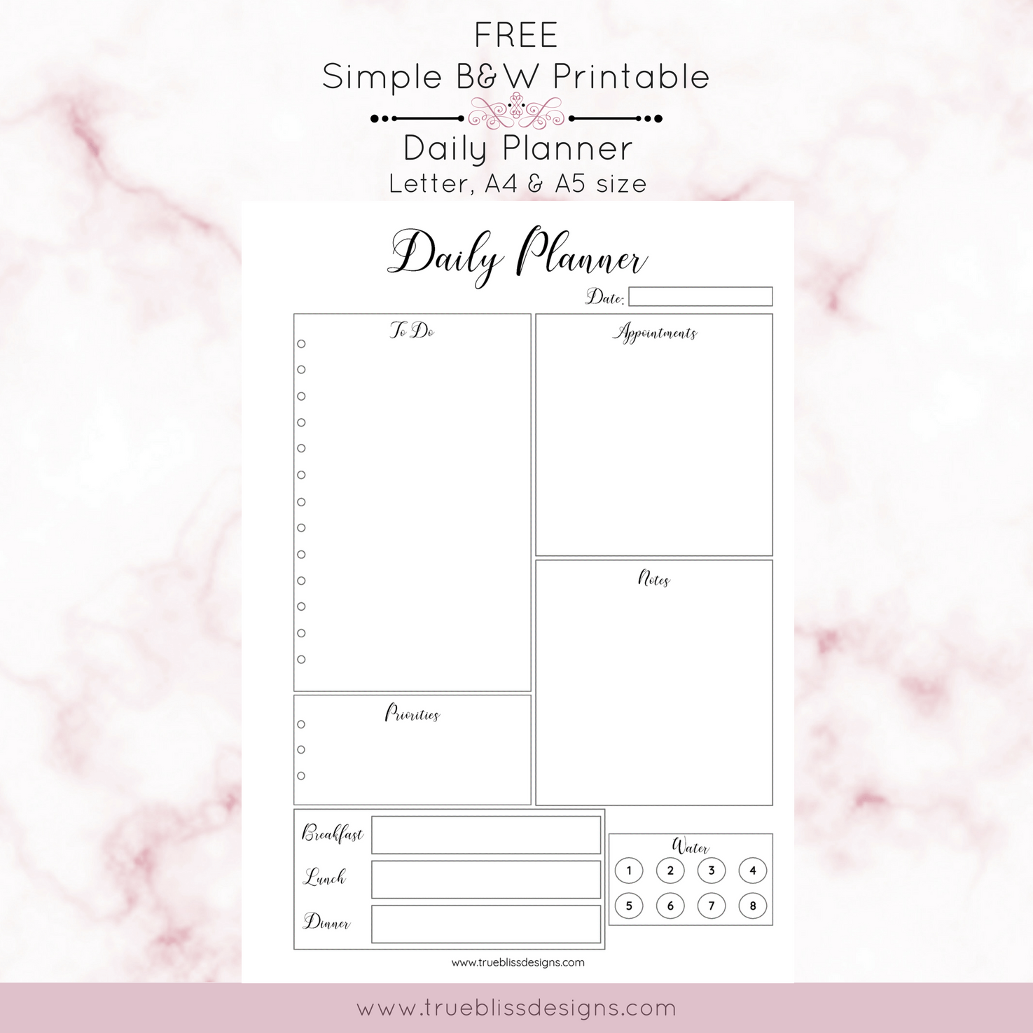 graphic relating to A5 Planner Printable known as Easy Black and White Printable Planners - Accurate Bliss Models