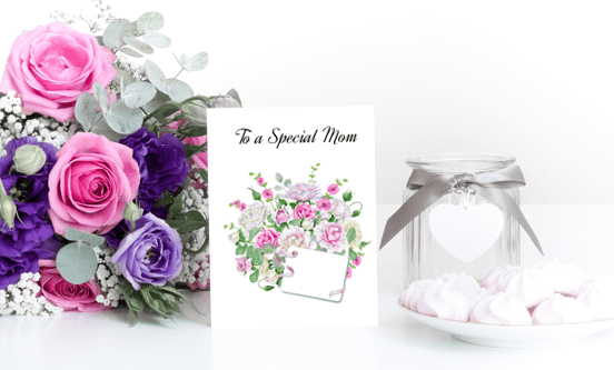 This free printable DIY card is a perfect card for Mothers. It's available in three different sizes with a watercolor design bouquet Click to read more and download your card at www.trueblissdesigns.com. #freeprintable #greetingcards #mothersday