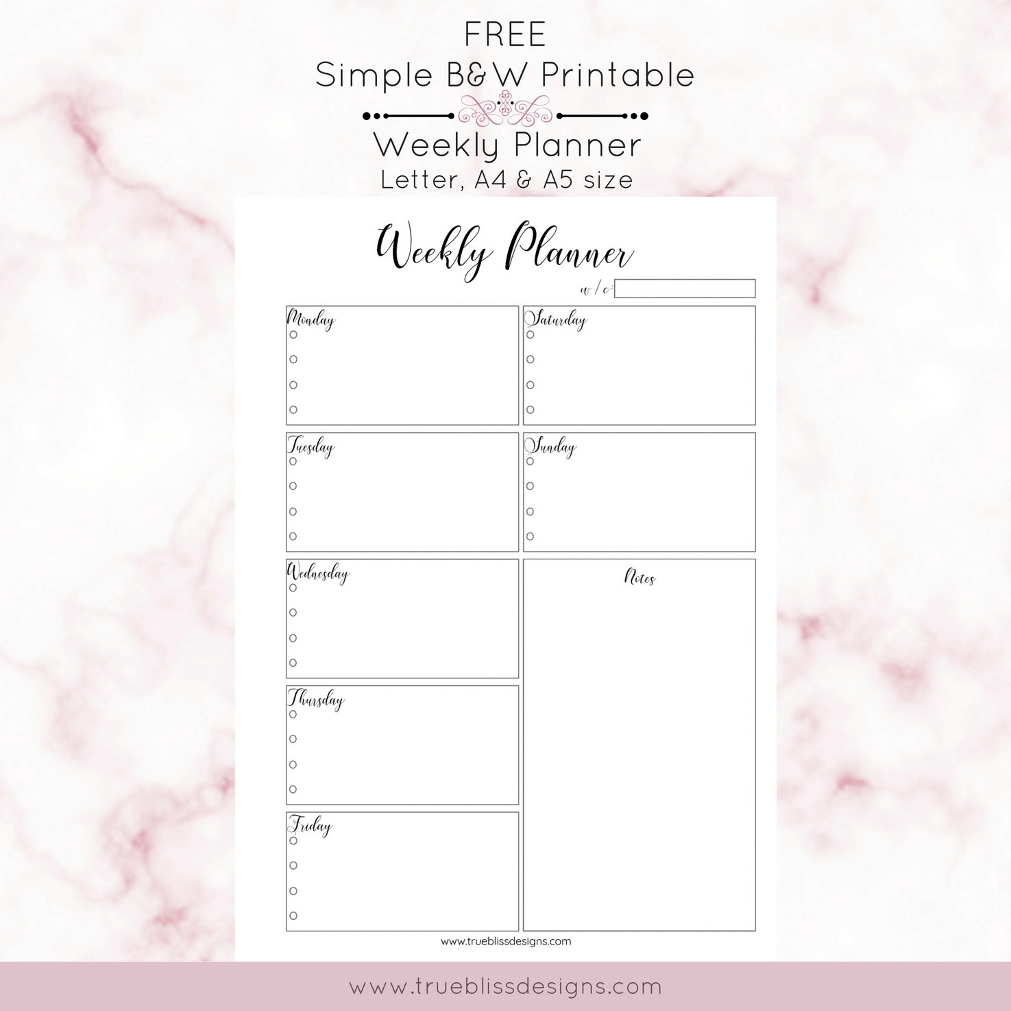image relating to Free Weekly Planner Printables known as Basic Black and White Printable Planners - Accurate Bliss Patterns