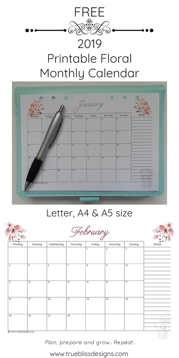 Download a free 2019 floral printable monthly calendar today! This landscape monthly calendar has a different watercolor design for every month and has space for notes. It's available in Letter, A4 and A5 size so whether you intend to use it in a planner or binder, there is a size to fit your needs. For more freebies, visit www.trueblissdesigns.com.