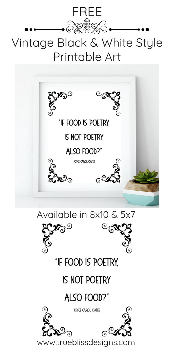 This black and white free printable art quote by Joyce Carol Oates